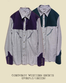 CORDUROY WESTERN SHIRTS(PURPLE/GREEN)