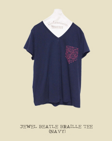 JEWEL BEATLE BRAILLE TEE(NAVY)