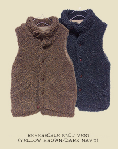 REVERSIBLE KNIT VEST(YELLOW BROWN/DARK NAVY)