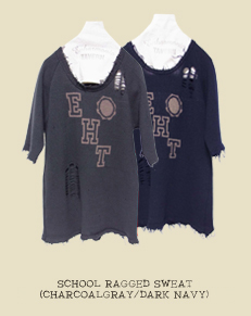 SCHOOL RAGGED SWEAT(CHARCOALGRAY/DARK NAVY)