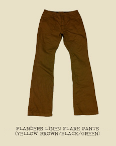 FLANDERS LINEN FLARE PANTS (YELLOW BROWN/BLACK/GREEN)