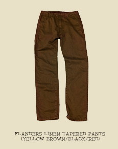 FLANDERS LINEN TAPERED PANTS (YELLOW BROWN/BLACK/RED)
