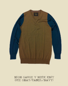 HIGH GAUGE V NECK KNIT (ICE GRAY/CAMEL/NAVY)