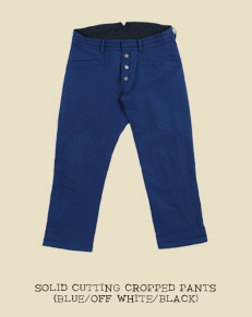 SOLID CUTTING CROPPED PANTS (BLUE/OFF WHITE/BLACK)