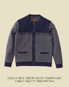 CABLE MIX CREW NECK CARDIGAN (GRAY/NAVY)