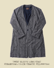 TWIST SLEEVE LONG COAT(CHARCOAL/GLEN CHACK)