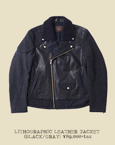 LITHOGRAPHIC LEATHER JACKET (BLACK/GRAY)