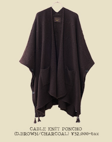 CABLE KNIT PONCHO (D.BROWN/CHARCOAL)
