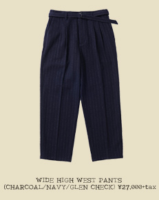 WIDE HIGH WEST PANTS (CHARCOAL/NAVY/GLEN CHECK)